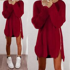 New Womens Casual Winter Long Sleeve Jumper Tops Zipper Sweater Loose Mini Dress