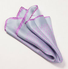 New $215 KITON NAPOLI Gray-Lavender Small Floral Medallion Silk Pocket Square