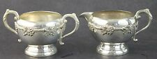 VTG W M Rogers Old English Reproduction Silverplate Creamer Open Sugar Bowl Set