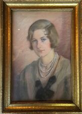 Woman Portrait Sketch Pastel Painting 20's Signed Lowry Flapper Vintage Art Deco