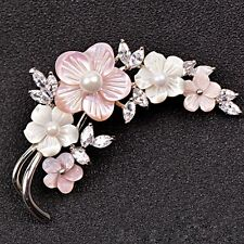 STUNNING 18K WHITE G/P PINK SEASHELL AND SWAROVSKI CRYSTAL AND PEARL BROOCH