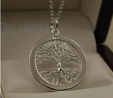 "925 Stamped Sterling Silver Plated Tree of Life Pendant - 18"" Necklace Chain -83"