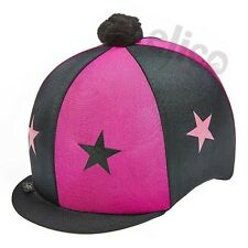 Lycra Riding Skull Cap Covers  XC Hat Silk  Stars & Pom Pom