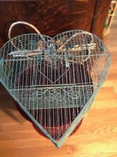 Vintage Hanging Metal Wire Bird Cage -Heart Design Rustic Shabby Chic