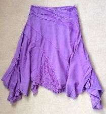 Small 6 8 10 Purple Denim & Lace Indian cotton Hippy Festival Skirt