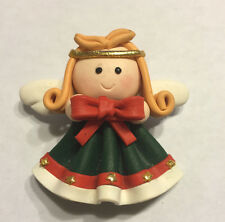 """Hand Made Crafted Clay Angel Christmas Bow Molded Pin Brooch 2"""" Guardian Stars"""