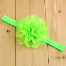 Green Cute Headband Hair Band Chiffon Flower Toddler Baby Girl Christening Party