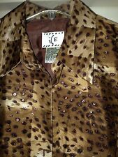 ICE Brown Sequin Embellished 100% Silk Shirt Top Blouse Size L EUC