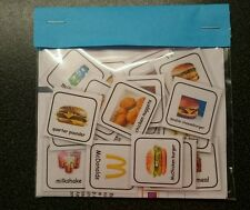 MCDONALDS VISUAL AIDS WITH LOOP / SMOOTH VELCRO - AUTISM NON VERBAL PECS
