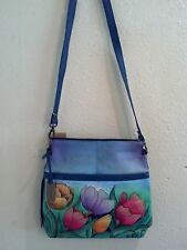Anuschka Hand Painted-Crafted Leather Cross Body Bag, Tulip Garden