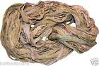 100g Sari Silk Ribbon craft ribbon, jewelry making Olive Green