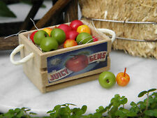 Miniature Dollhouse FAIRY GARDEN Accessories ~ Large Wood Wooden Crate & Apples