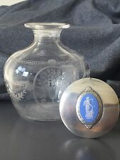 Antique STERLING SILVER LIMOGES? PORCELAIN WEDGWOOD STYLE Perfume Bottle GLASS