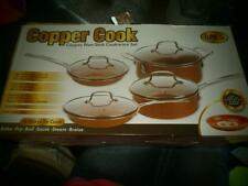 NEW COPPER COOK NON STICK COOKWARE SET 8 PIECES GLASS LIDS PANS AND POTS BAKE