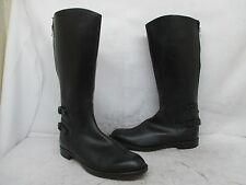 Black Leather Back Zip Double Buckle Tall Motorcycle Boots Mens Size 10 UK