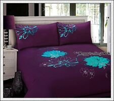 280TC Dark Purple Teal Flora Embroidery * 3pc QUEEN Size QUILT DOONA COVER SET