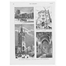 Newcastle-St Andrews & St Nicholas églises; porte noir-impression antique 1881