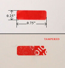 """500 Security Label Seal Sticker Red Tamper Evident VOID wii ps3 0.75"""" x 0.25"""""""