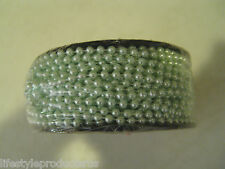 NEW 25 YARDS FAUX PASTEL MINT GREEN PEARL BEADS STRING PEARLS ON REEL CRAFT BEAD