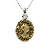 477a Victorian Vintage Topaz Crystal Cameo Necklace & Gift Box