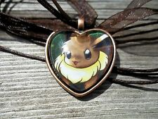 Pokemon Trading Card Rocket Eevee Charm Heart Pendant Glass Necklace Cosplay