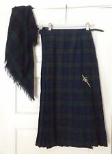 Plaid Scottish Kilt with Matching Scarf, 100% wool, Sword Pin, Size- 12