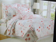 New Nicole Miller Home Reversible Twin Quilt - Pink, Coral, Blue Flower NIP