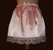 "Adult sissy - Cross Dresser - PINK Satin SLIP SKIRT with Lace - 16"" long"