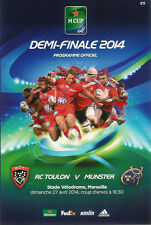 Toulon v Munster 27 Apr 2014 Heineken European Cup semi-final RUGBY PROGRAMME