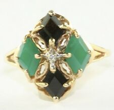 CONTEMPORARY 10K G0LD FACETED BLACK ONYX CHRYSOPRASE RING SIZE 9