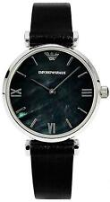 NEW EMPORIO ARMANI AR1678 LADIES RETRO BLACK PEARL WATCH - 2 YEAR WARRANTY