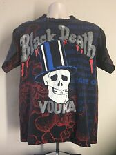 Vtg Early 90s Black Death Vodka All Over Print T-Shirt L Slash Guns N' Roses