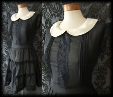 Goth nero crema in pizzo velato PENITENZA PETER PAN Tea Dress 8 10 Vittoriano Vintage