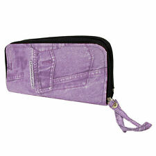Ladies Purse Denim Effect Purple Colour Fashion Handle Bag Clutch Pattern Zip