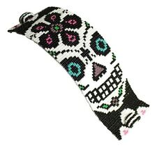 """BR602 Skull Day of The Dead Bracelet Crystal Czech Glass Beads Magnetic Clasp 7"""""""