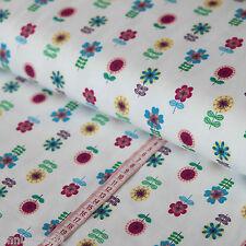 Jersey Stoff bunte Blümchen auf Naturweiß REIHE - Blumen Jerseystoffe Kinder