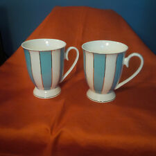 Cynthia Rowley New York Blue/White Striped Set of 2- 10oz Footed Coffee Cups (m)