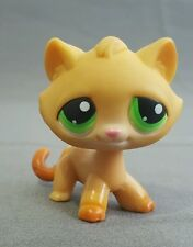 Littlest Pet Shop LPS Yellow/Orange TABBY CAT #110 Green Eyes Paws Down