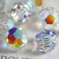 8 Pieces Swarovski 5000 faceted 10mm Round Ball Beads Crystal CLEAR AB