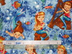 1/2yd Little Mermaid Sea Music shell fish Michael Miller cotton quilting fabric