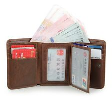 J.M.D Men's RFID Trifold Leather Wallet with Double ID Window Credit Card Slots