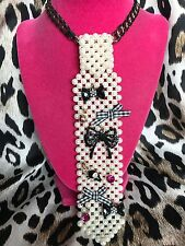 Betsey Johnson Vintage Goes To Paris Checkered Bow Pink Mouse Pearl Tie Necklace