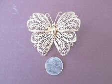 Vintage BUTTERFLY BROOCH Pin Signed MONET Gold Tone Costume Jewelry LOT1