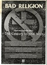 4/2/95PGN20 BAD RELIGION : 21ST CENTURY (DIGITAL BOY) SINGLE ADVERT 7X5""
