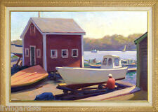 Cape Cod WOODEN BOAT WORKS Oil Painting on 18x28 Framed Giclee Canvas