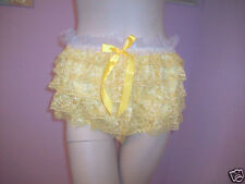 PRETTY FRILLY YELLOW SATIN/ YELLOW LACE SISSY PANTY  SIZE 2X