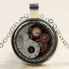 Metal Steampunk Gears Cabochon Tibetan silver Glass Chain Pendant Necklace