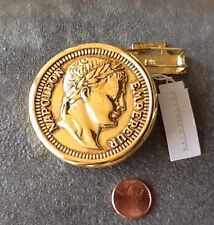 Dotty Smith Napoleon Empereur Gold Coin Belt Buckle Vintage 1980's New Old Stock