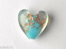 5 Beautiful Turquoise Gold Sand Lampwork Glass Murano Style Heart Beads 20mm G8