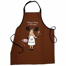 Hatley Funny Cotton Apron MAKING A MOOSE in the KITCHEN Mess Barbecue Chef
